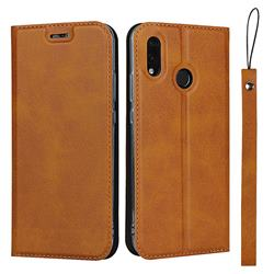 Calf Pattern Magnetic Automatic Suction Leather Wallet Case for Huawei P20 Lite - Brown
