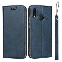 Calf Pattern Magnetic Automatic Suction Leather Wallet Case for Huawei P20 Lite - Blue