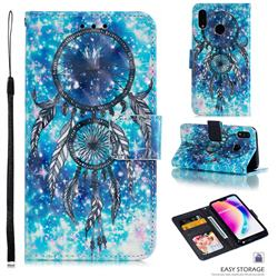 Blue Wind Chime 3D Painted Leather Phone Wallet Case for Huawei P20 Lite
