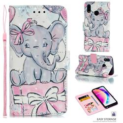 Bow Elephant 3D Painted Leather Phone Wallet Case for Huawei P20 Lite