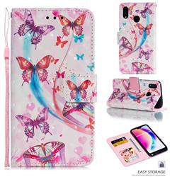 Ribbon Flying Butterfly 3D Painted Leather Phone Wallet Case for Huawei P20 Lite