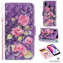 Purple Butterfly Flower 3D Painted Leather Phone Wallet Case for Huawei P20 Lite