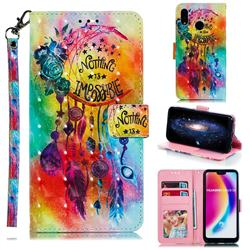 Flower Wind Chimes 3D Painted Leather Phone Wallet Case for Huawei P20 Lite