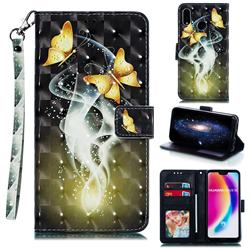 Dream Butterfly 3D Painted Leather Phone Wallet Case for Huawei P20 Lite