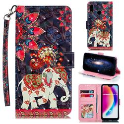 Phoenix Elephant 3D Painted Leather Phone Wallet Case for Huawei P20 Lite