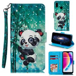 Cute Panda 3D Painted Leather Phone Wallet Case for Huawei P20 Lite