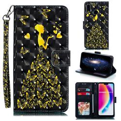 Golden Butterfly Girl 3D Painted Leather Phone Wallet Case for Huawei P20 Lite