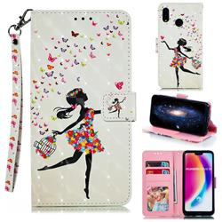 Flower Girl 3D Painted Leather Phone Wallet Case for Huawei P20 Lite