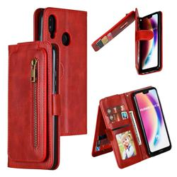 Multifunction 9 Cards Leather Zipper Wallet Phone Case for Huawei P20 Lite - Red