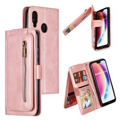 Multifunction 9 Cards Leather Zipper Wallet Phone Case for Huawei P20 Lite - Rose Gold
