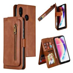 Multifunction 9 Cards Leather Zipper Wallet Phone Case for Huawei P20 Lite - Brown