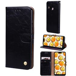 Luxury Retro Oil Wax PU Leather Wallet Phone Case for Huawei P20 Lite - Deep Black