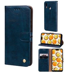 Luxury Retro Oil Wax PU Leather Wallet Phone Case for Huawei P20 Lite - Sapphire