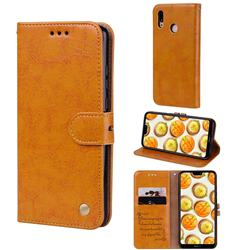 Luxury Retro Oil Wax PU Leather Wallet Phone Case for Huawei P20 Lite - Orange Yellow