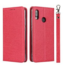 Ultra Slim Magnetic Automatic Suction Silk Lanyard Leather Flip Cover for Huawei P20 Lite - Red