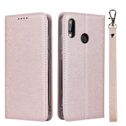 Ultra Slim Magnetic Automatic Suction Silk Lanyard Leather Flip Cover for Huawei P20 Lite - Rose Gold