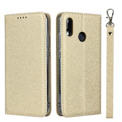 Ultra Slim Magnetic Automatic Suction Silk Lanyard Leather Flip Cover for Huawei P20 Lite - Golden