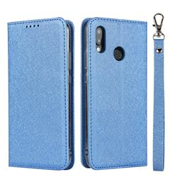 Ultra Slim Magnetic Automatic Suction Silk Lanyard Leather Flip Cover for Huawei P20 Lite - Sky Blue