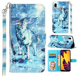 Snow Wolf 3D Leather Phone Holster Wallet Case for Huawei P20 Lite