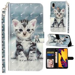 Kitten Cat 3D Leather Phone Holster Wallet Case for Huawei P20 Lite