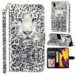White Leopard 3D Leather Phone Holster Wallet Case for Huawei P20 Lite