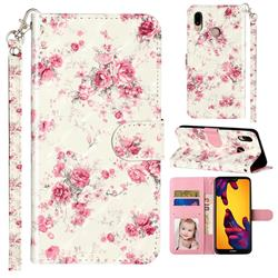 Rambler Rose Flower 3D Leather Phone Holster Wallet Case for Huawei P20 Lite