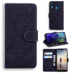 Intricate Embossing Tiger Face Leather Wallet Case for Huawei P20 Lite - Black