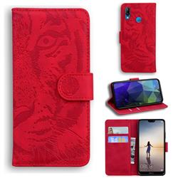Intricate Embossing Tiger Face Leather Wallet Case for Huawei P20 Lite - Red
