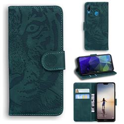 Intricate Embossing Tiger Face Leather Wallet Case for Huawei P20 Lite - Green