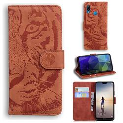 Intricate Embossing Tiger Face Leather Wallet Case for Huawei P20 Lite - Brown