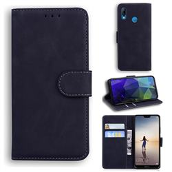 Retro Classic Skin Feel Leather Wallet Phone Case for Huawei P20 Lite - Black