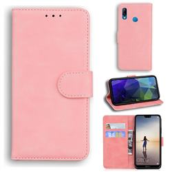Retro Classic Skin Feel Leather Wallet Phone Case for Huawei P20 Lite - Pink