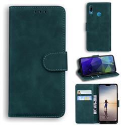 Retro Classic Skin Feel Leather Wallet Phone Case for Huawei P20 Lite - Green
