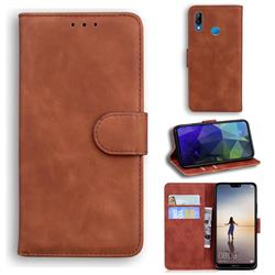 Retro Classic Skin Feel Leather Wallet Phone Case for Huawei P20 Lite - Brown