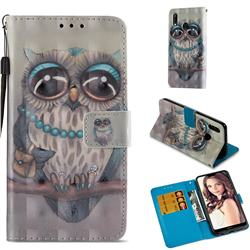 Sweet Gray Owl 3D Painted Leather Wallet Case for Huawei P20 Lite