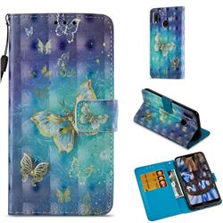 Gold Butterfly 3D Painted Leather Wallet Case for Huawei P20 Lite