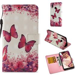 Rose Butterfly 3D Painted Leather Wallet Case for Huawei P20 Lite