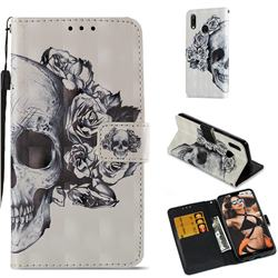 Skull Flower 3D Painted Leather Wallet Case for Huawei P20 Lite