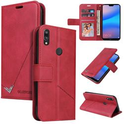 GQ.UTROBE Right Angle Silver Pendant Leather Wallet Phone Case for Huawei P20 Lite - Red