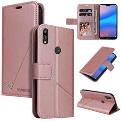 GQ.UTROBE Right Angle Silver Pendant Leather Wallet Phone Case for Huawei P20 Lite - Rose Gold