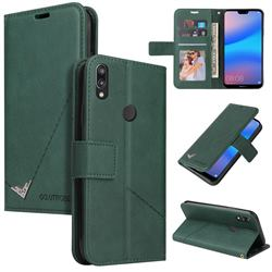 GQ.UTROBE Right Angle Silver Pendant Leather Wallet Phone Case for Huawei P20 Lite - Green