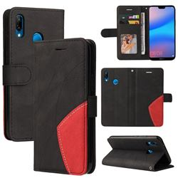 Luxury Two-color Stitching Leather Wallet Case Cover for Huawei P20 Lite - Black