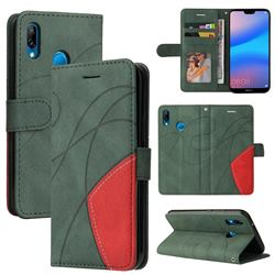 Luxury Two-color Stitching Leather Wallet Case Cover for Huawei P20 Lite - Green