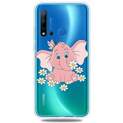 Tiny Pink Elephant Clear Varnish Soft Phone Back Cover for Huawei P20 Lite(2019)