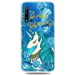 Blue Flower Unicorn Clear Varnish Soft Phone Back Cover for Huawei P20 Lite(2019)