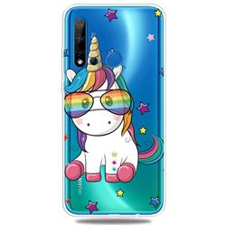Glasses Unicorn Clear Varnish Soft Phone Back Cover for Huawei P20 Lite(2019)