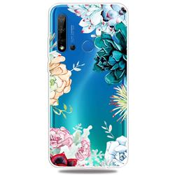 Gem Flower Clear Varnish Soft Phone Back Cover for Huawei P20 Lite(2019)