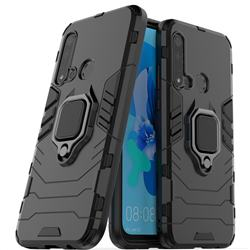 Black Panther Armor Metal Ring Grip Shockproof Dual Layer Rugged Hard Cover for Huawei P20 Lite(2019) - Black