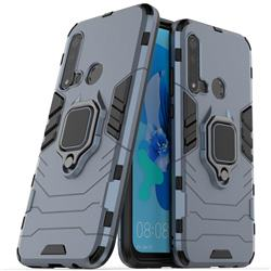 Black Panther Armor Metal Ring Grip Shockproof Dual Layer Rugged Hard Cover for Huawei P20 Lite(2019) - Blue