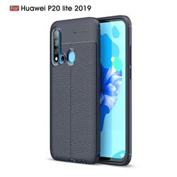 Luxury Auto Focus Litchi Texture Silicone TPU Back Cover for Huawei P20 Lite(2019) - Dark Blue